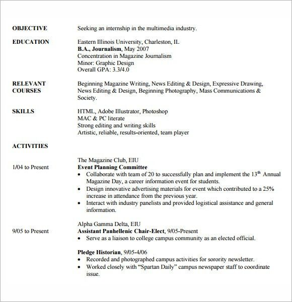 Internship Resume Template 11 Free Samples Examplespsd Free ...