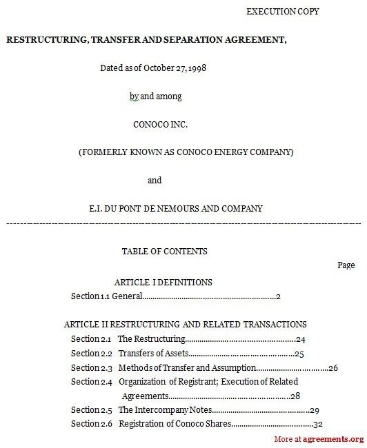 Separation Agreement Form. Marital Separation Agreement Form ...