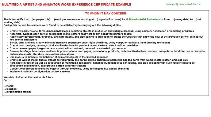 Multimedia Artist And Animator Work Experience Certificate