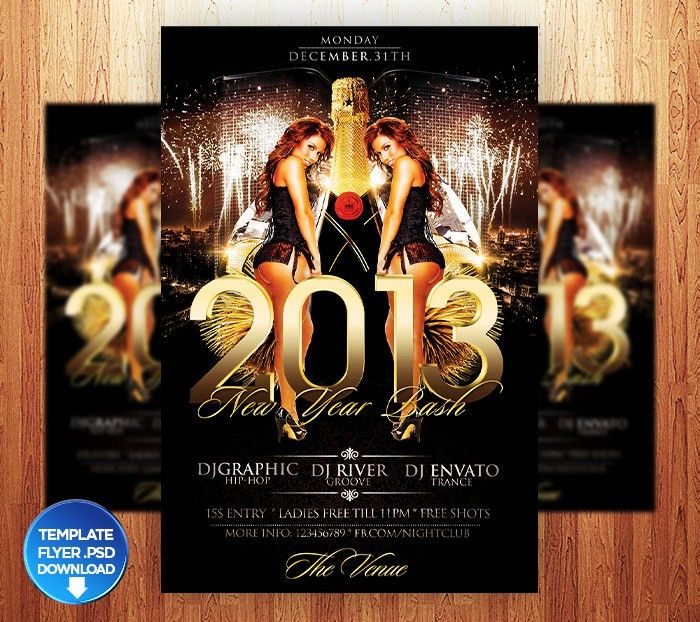 2013 New Year Party Flyer Template by Grandelelo on DeviantArt