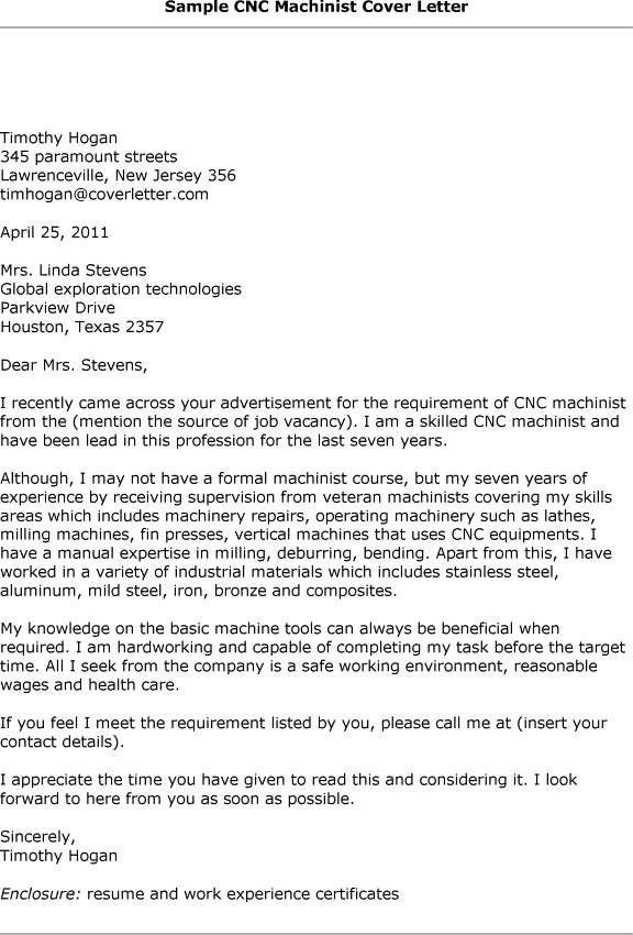 Cnc Machinist Cover Letter Professional Cnc Machinist Cover