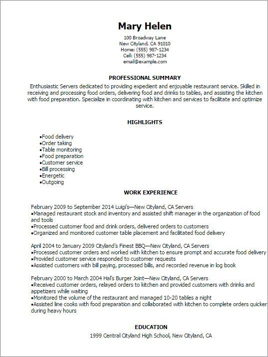 resume duties examples resume cv cover letter. server resume ...