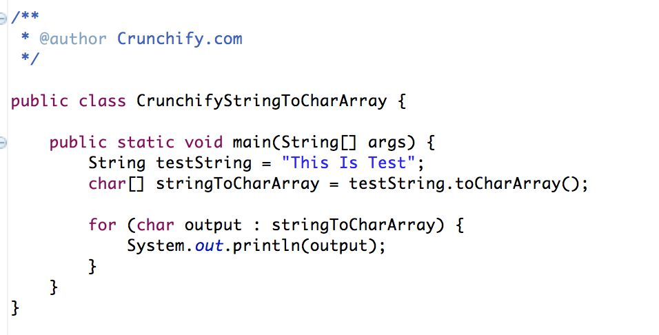 Java: Simple way to convert String to Char Array • Crunchify
