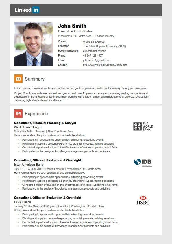 linked in resume builder
