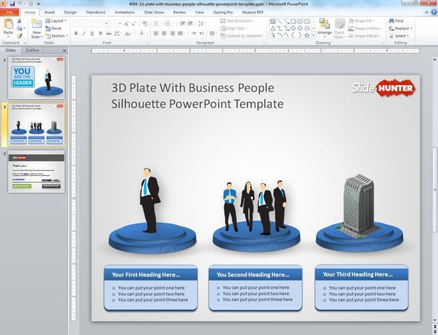Free 3D Plate with Business People Sillhoutte PowerPoint Template