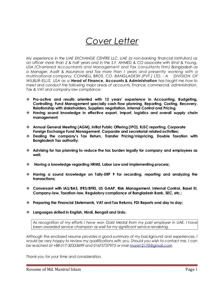 Tax Return Cover Letter Tax Return Cover Letter - Bank risk manager cover letter