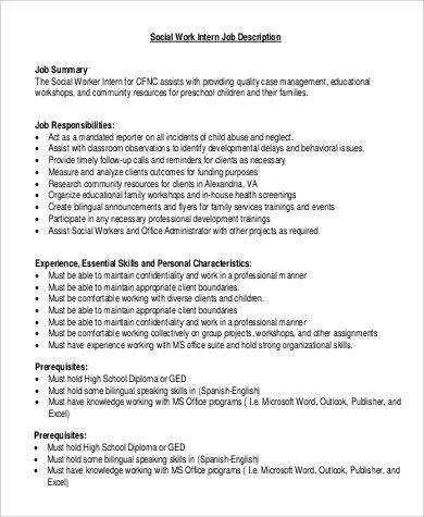 great social worker job description pictures social work intern