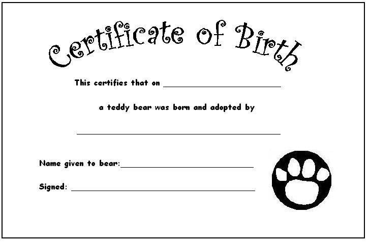 Your Teddy's Certificate of Birth | Teddies Nursery