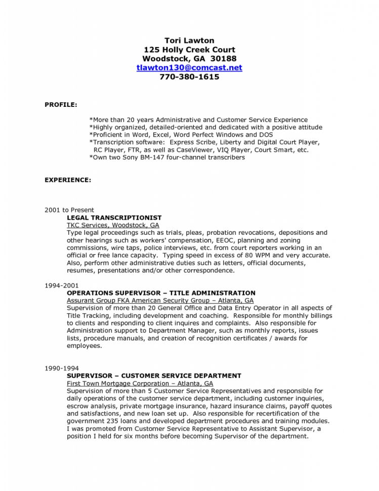 Sample Medical Transcriptionist Cover Letter