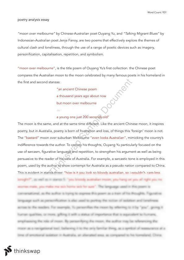Poetry Comparative Analysis | Year 11 SACE - English | Thinkswap