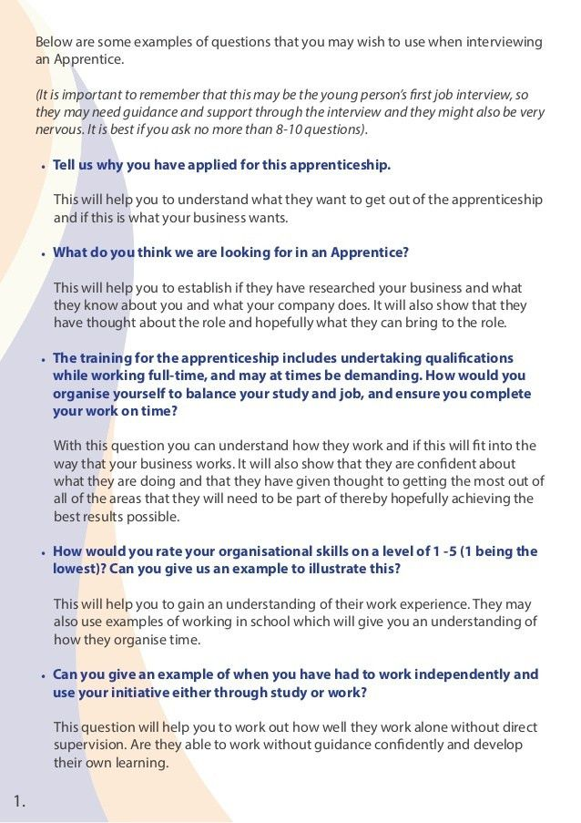 Sample Apprenticeship Interview Questions