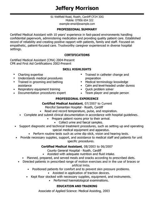 Medical Assistant CV Example for Healthcare | LiveCareer