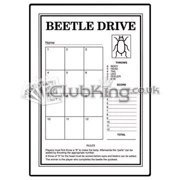Beetle Drive Cards, 100 Cards - ClubKing.co.uk - Club Supplies ...