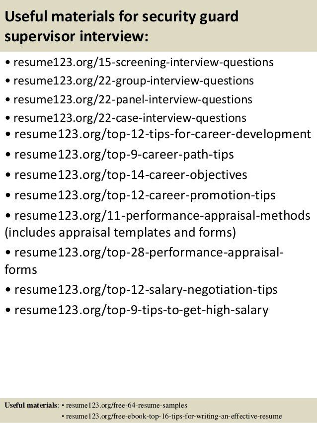Top 8 security guard supervisor resume samples