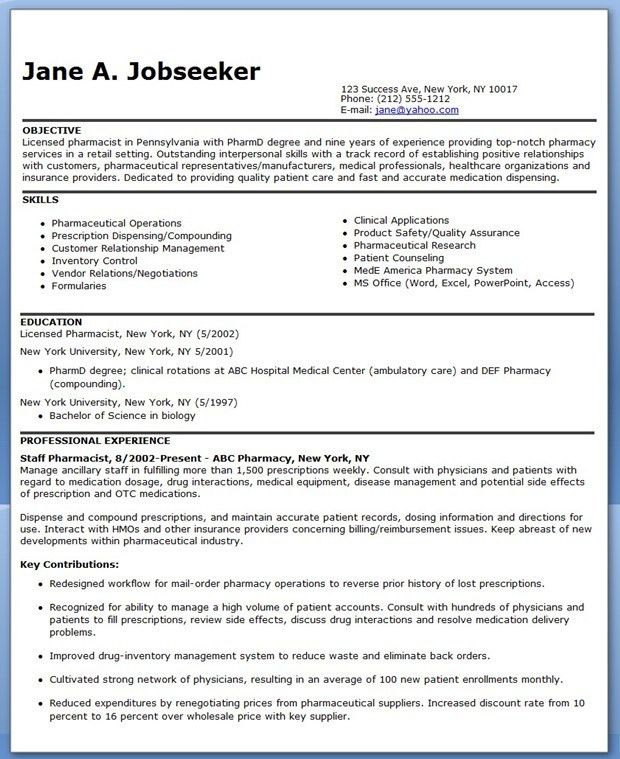 Pharmacist Resume Sample | Creative Resume Design Templates Word ...