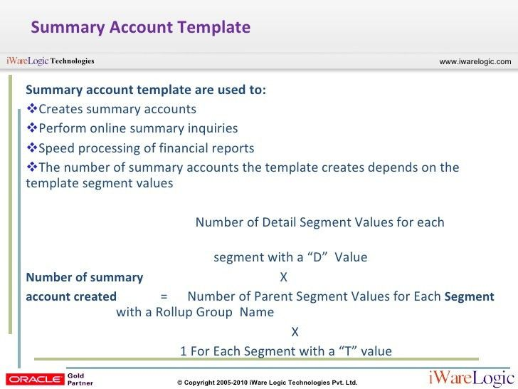 Summary Account R12 General Ledger