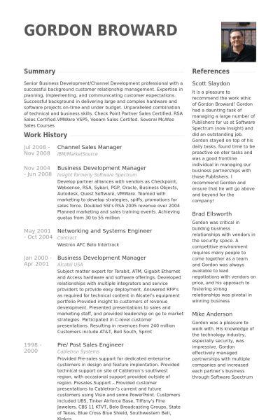 Channel Sales Manager Resume samples - VisualCV resume samples ...