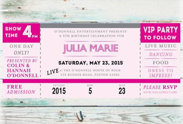 concert ticket template