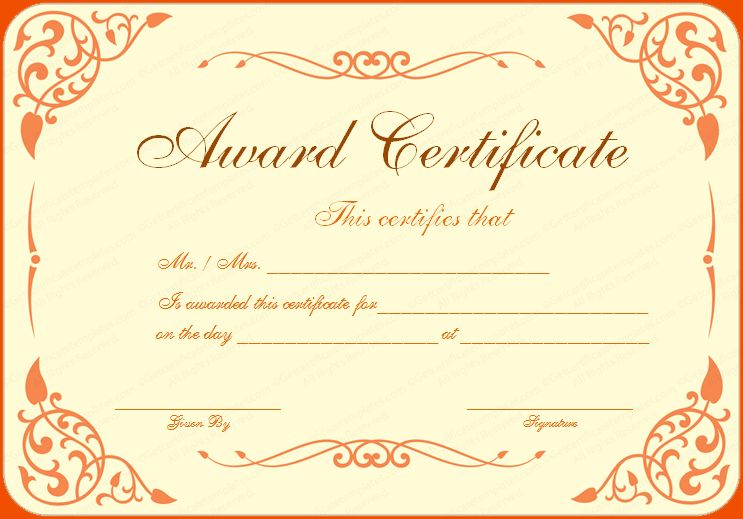 8+ awards certificate template - bookletemplate.org