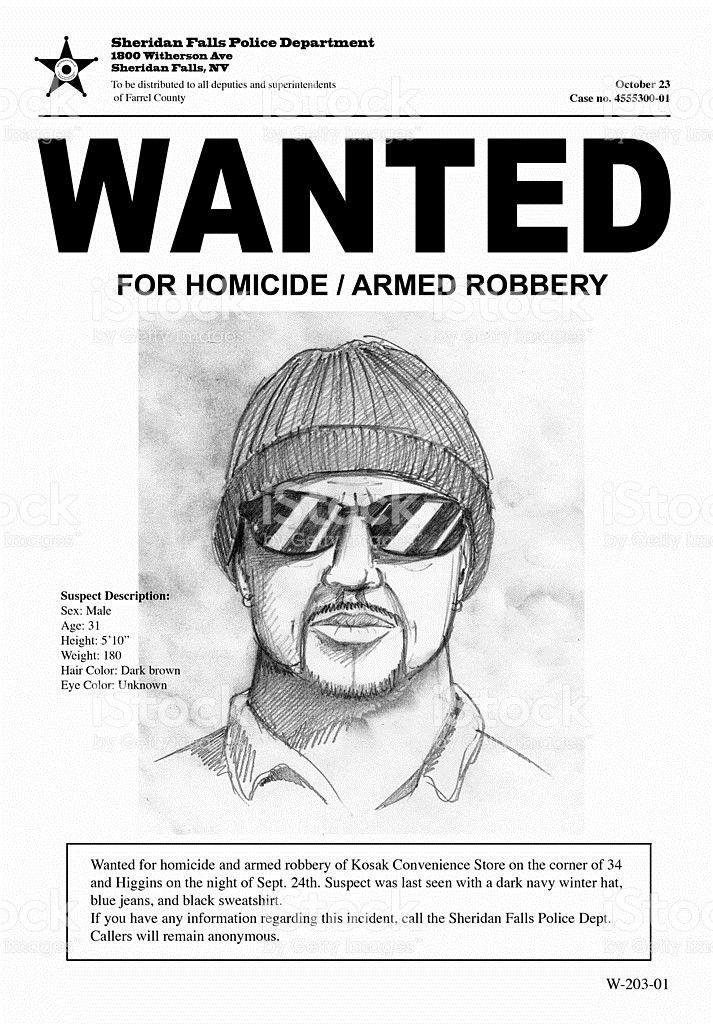 Wanted Poster With Drawing Of A Man With Hat And Sunglasses stock ...