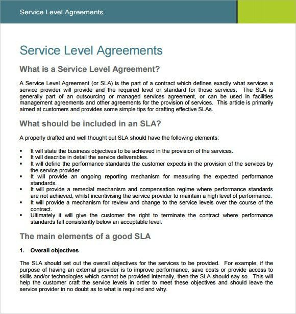 Sample Service Level Agreement – 8+ Example, Format
