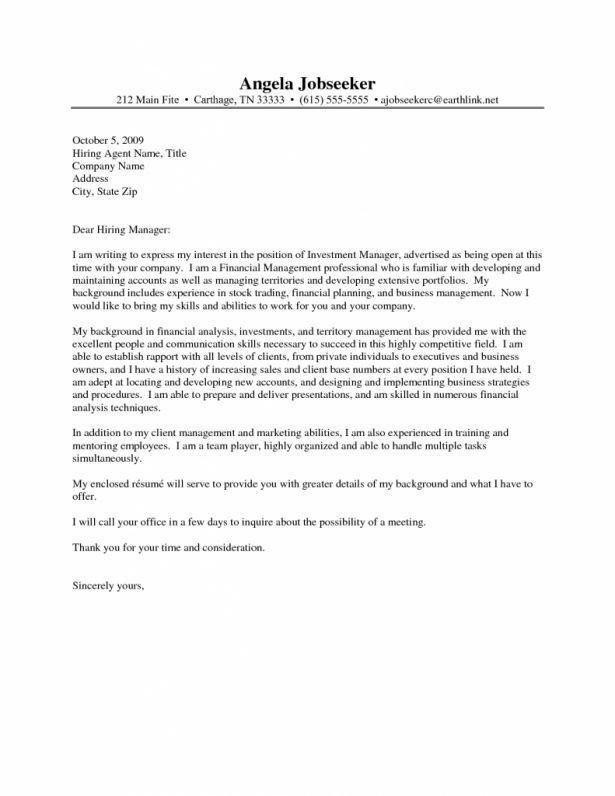 investment management cover letter
