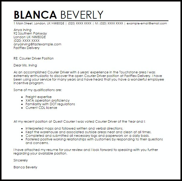 Courier Driver Cover Letter Sample | LiveCareer