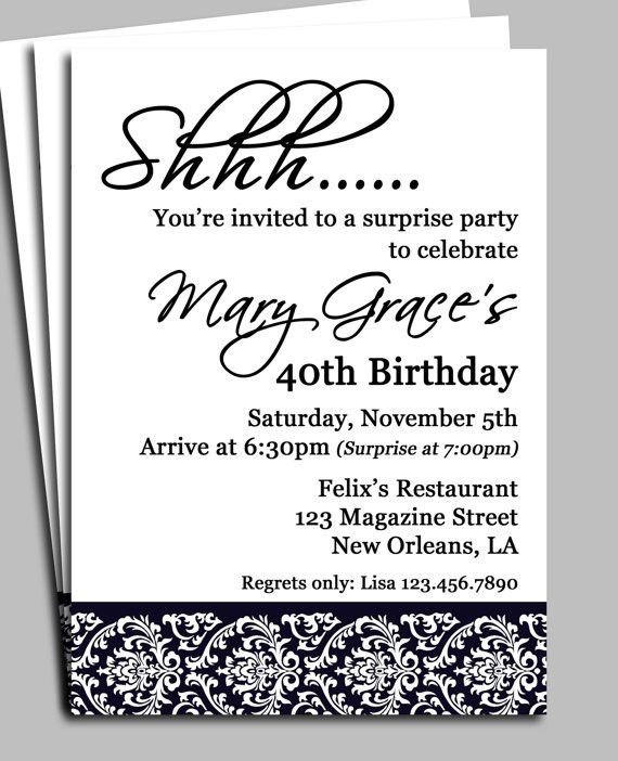 adult male surprise birthday invitations   Surprise Party ...