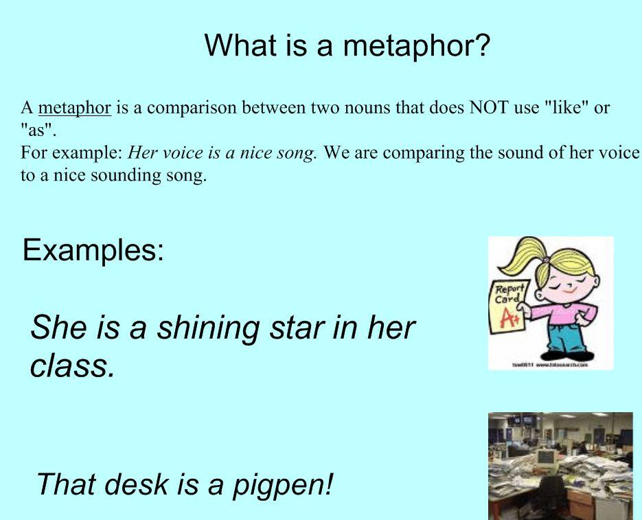 EXAMPLES OF METAPHORS - alisen berde
