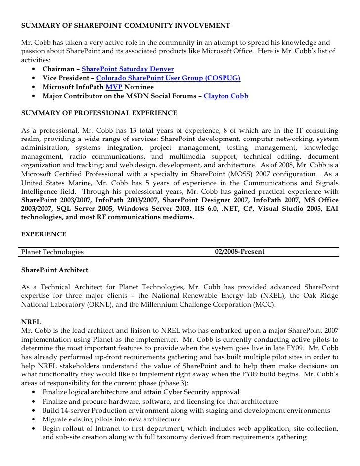 Clayton Cobb Resume - SharePoint