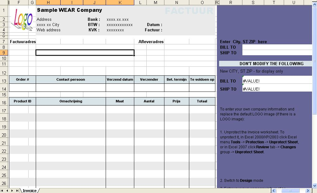 Excel Invoicing Template - Download