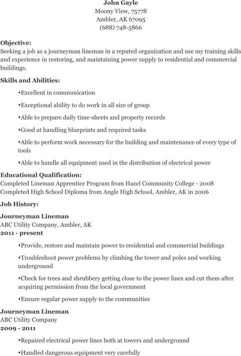 Power lineman resume sample