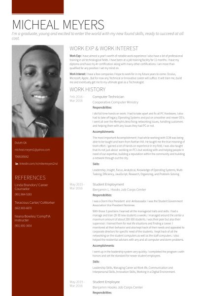 Computer Technician Resume samples - VisualCV resume samples database