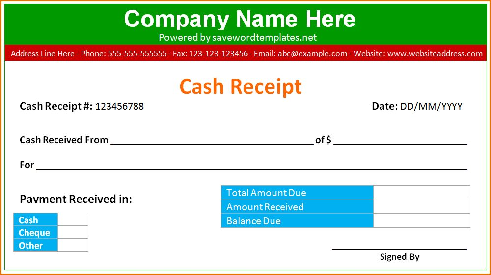 10+ cash receipt template word | Job Resumes Word