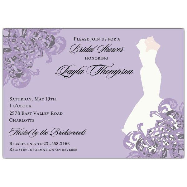 Elegant Gown Lilac Bridal Shower Invitations | PaperStyle
