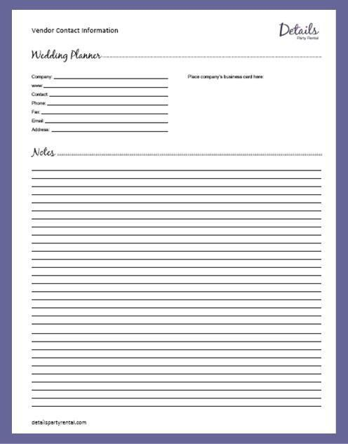 Details Party Rental – Planning Templates