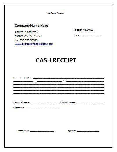 receipt template free   Cash Receipt Template   Professional Word ...