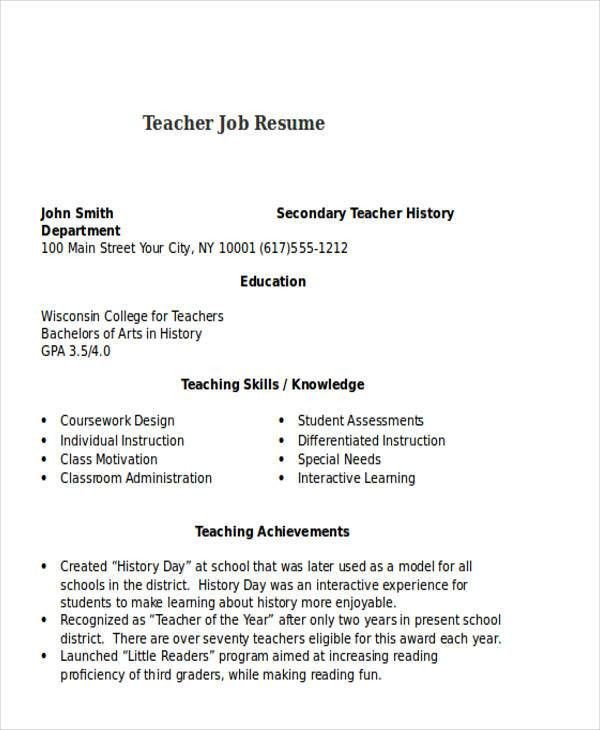 resume example for teachers teacher resume samples writing guide