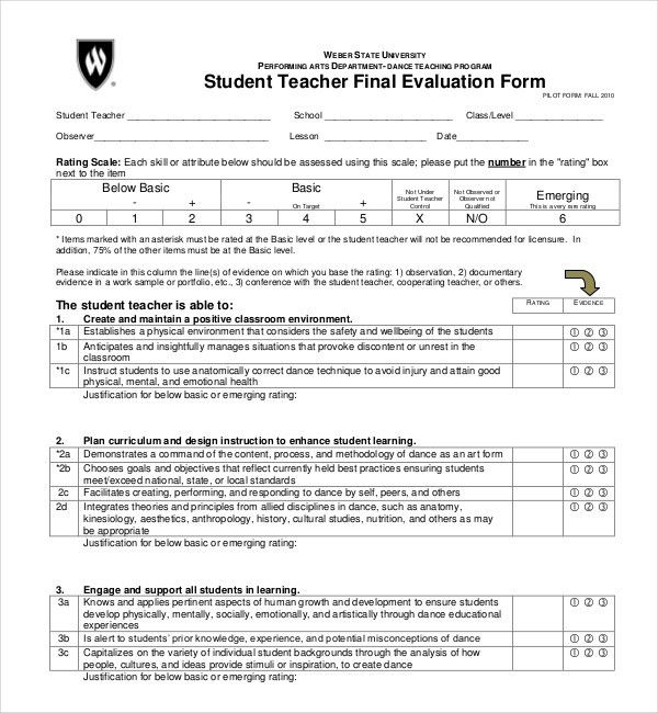 Sample Student Evaluation Form. Dance Student Evaluation Form 17+ ...