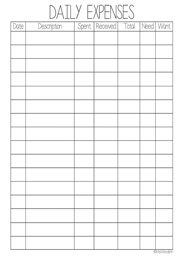 Daily Expenses Worksheet Printable | Financial budget, Check ...
