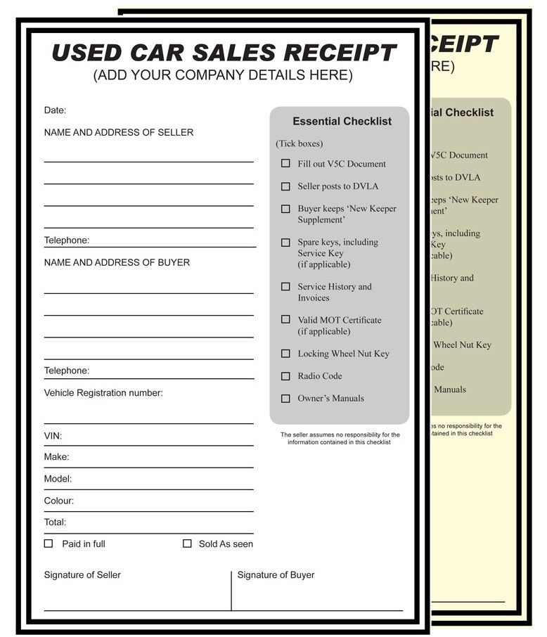 USED CAR SALES RECEIPT PERSONALISED PRINTED A4 2 PART NCR PAD ANY ...