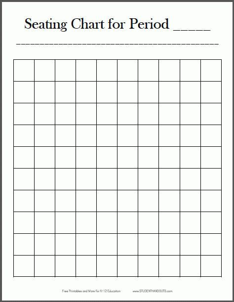 Free Printable 10x10 Classroom Seating Chart | Student Handouts