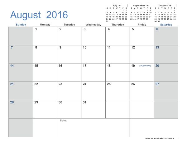 August 2016 Calendar Printable 3 Month Calendar Template