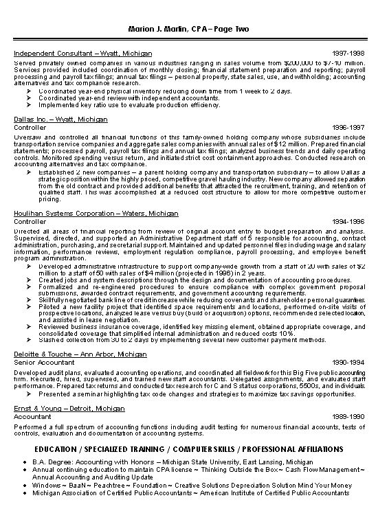 cpa resume examples accountant chrono sample - Writing Resume ...