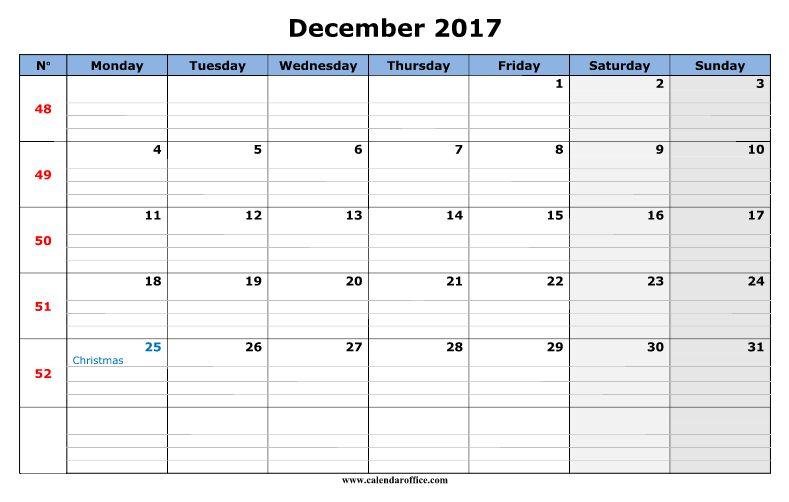 December 2017 Calendar Word   monthly calendar 2017