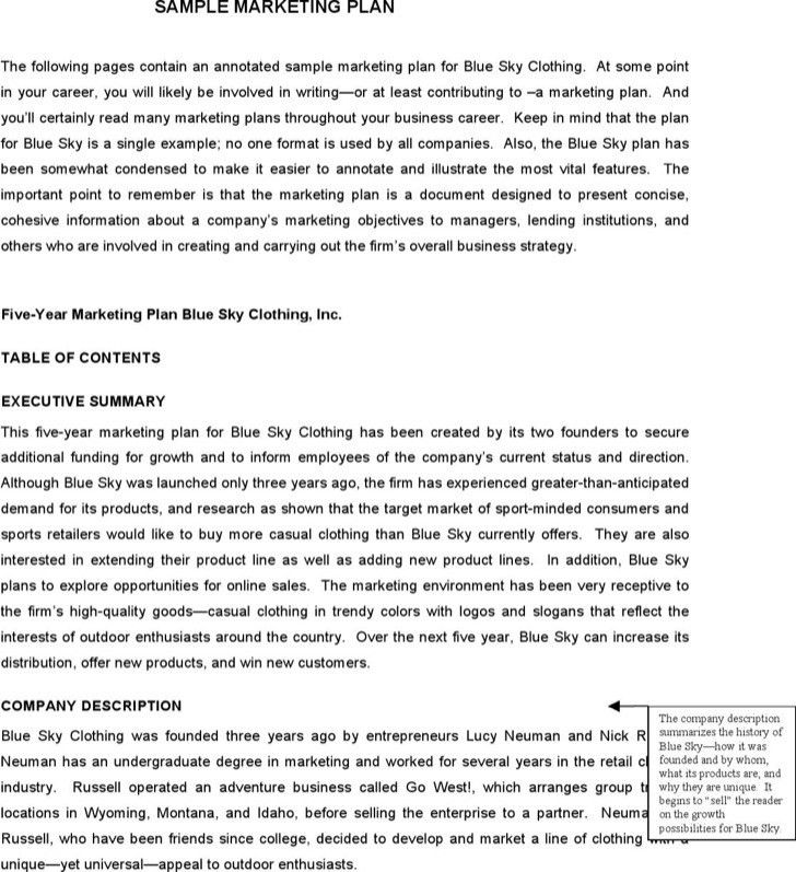 Sample Marketing Proposal Template. marketing plan excerpt product ...