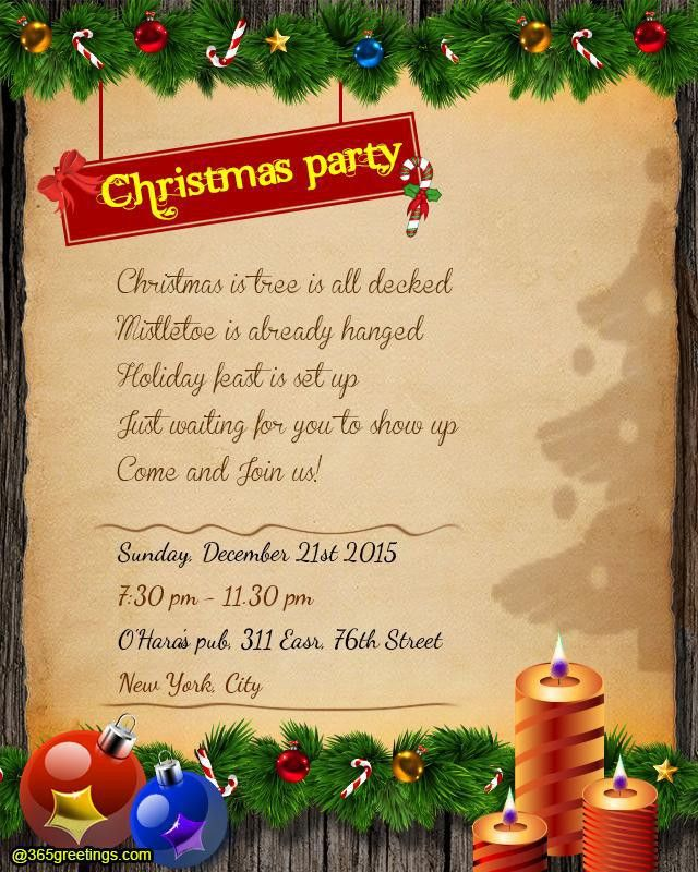 Christmas Party Invitation Wording - 365greetings.com