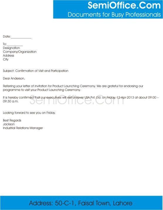 Acceptance of Invitation Letter Sample Format