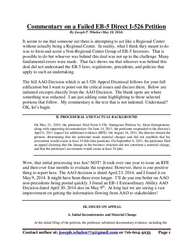 Commentary on a failed EB-5 Direct I-526 Petition