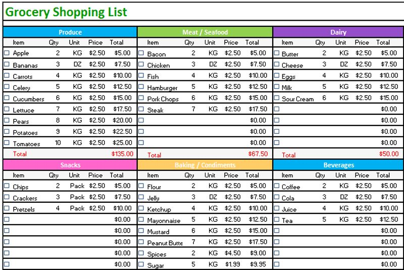 excel grocery list - Template